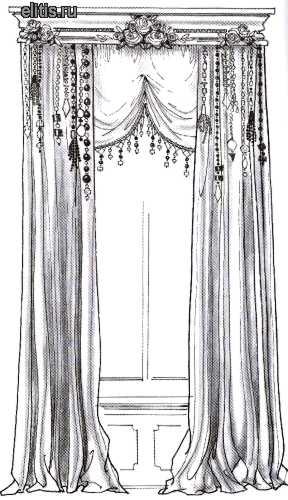 """Шторы с ламбрекеном (сваги, перекиды, воланы).  Текстильный дизайн.  РИА  """"Фор Медиа """"."""